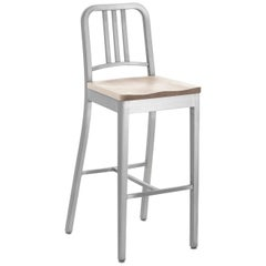 Emeco Navy Barstool in Brushed Aluminum and Ash by US Navy