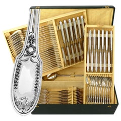 Puiforcat French Sterling Silver Flatware Set of 85 Pieces, Chest, Swan