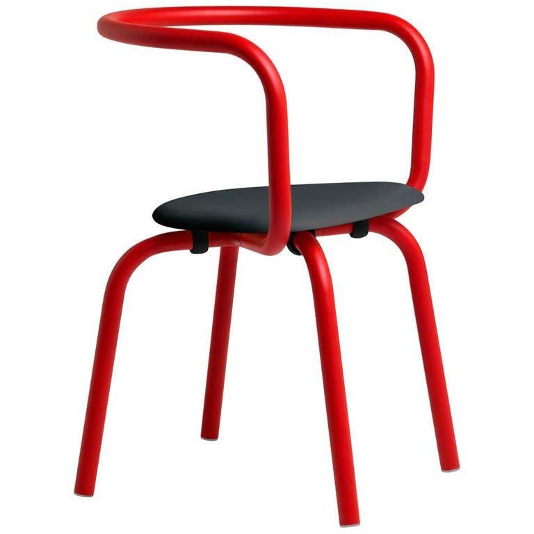 Emeco Parrish Side Chair in Red Powder-Coat and Black by Konstantin Grcic For Sale