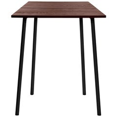 Emeco Run Small High Table in Dark Powder-Coat & Walnut by Sam Hecht & Kim Colin