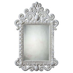 Large Scale White Shell Mirror with Scrolling Cresting and Mercury Plate