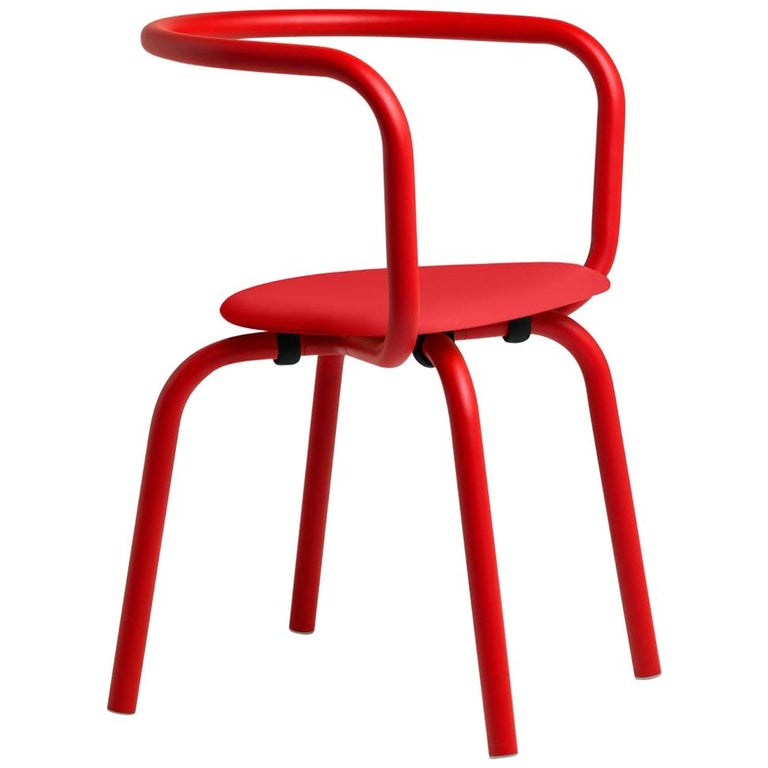 Emeco Parrish Side Chair in Red Powder-Coat & Red by Konstantin Grcic For Sale