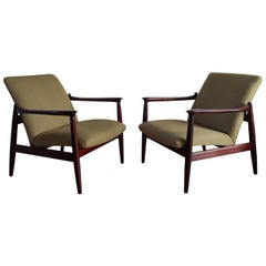 Pair of Armchairs, Olive Linen, Edmund Homa, 1960s