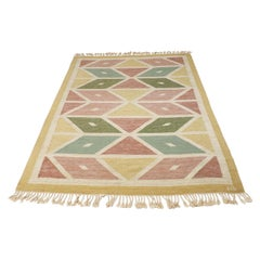 Swedish Flat-Woven Rug with Geometrical Pattern, Handmade and Signed