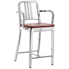 Emeco Navy Counter Stool with Arms in Polished Aluminum and Cherry by US Navy