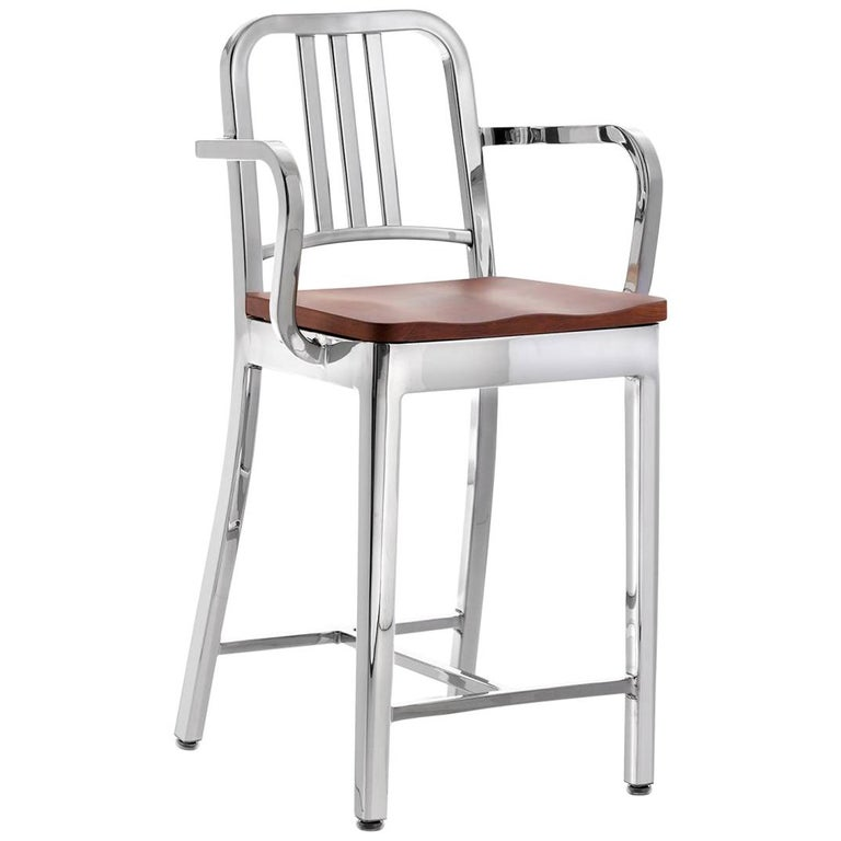 Incredible Emeco Navy Counter Stool With Arms In Polished Aluminum And Cherry By Us Navy Caraccident5 Cool Chair Designs And Ideas Caraccident5Info