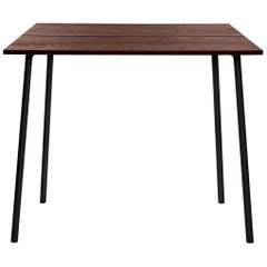 Emeco Run Medium High Table in Dark Aluminum and Walnut by Sam Hecht & Kim Colin