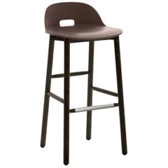 Emeco Alfi Barstool in Brown and Dark Ash with Low Back by Jasper Morrison