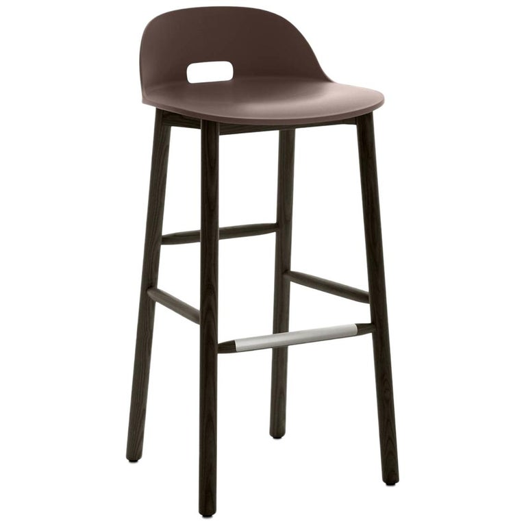 Emeco Alfi Barstool in Brown and Dark Ash with Low Back by Jasper Morrison For Sale
