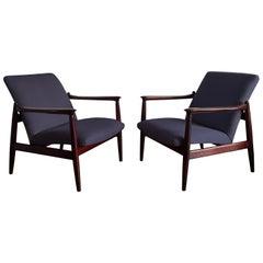 Pair of Armchairs, Dark Blue Linen, Edmund Homa, 1960s