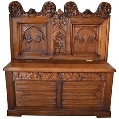 French Gothic Hall Chest Bench in Carved Oak, circa 1880