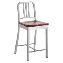 Emeco Navy Counter Stool in Brushed Aluminum and Cherry by US Navy