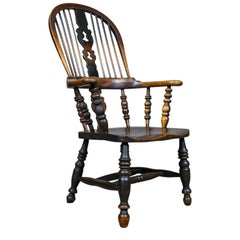 Antique Windsor Broad Arm Elbow Chair, English, Victorian, Elm, Ash, circa 1850