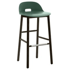Emeco Alfi Barstool in Green and Dark Ash with Low Back by Jasper Morrison