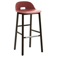 Emeco Alfi Barstool in Red and Dark Ash with Low Back by Jasper Morrison