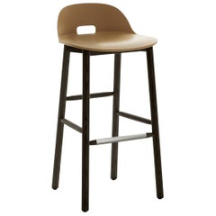 Emeco Alfi Barstool in Sand and Dark Ash with Low Back by Jasper Morrison