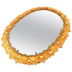 Iluminated Palwa Mirror Faceted Glass Diamonds in Gilded Brass, 1960s Vintage