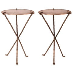 1950s French Pair of Bronze Design Tables with Three Crossed Legs