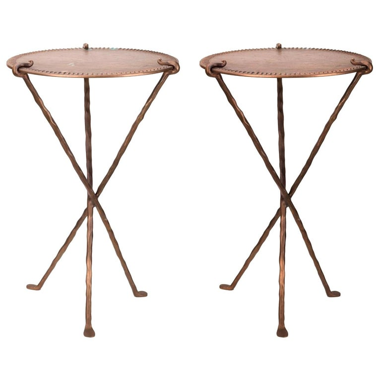 1950s French Pair of Bronze Design Tables with Three Crossed Legs For Sale