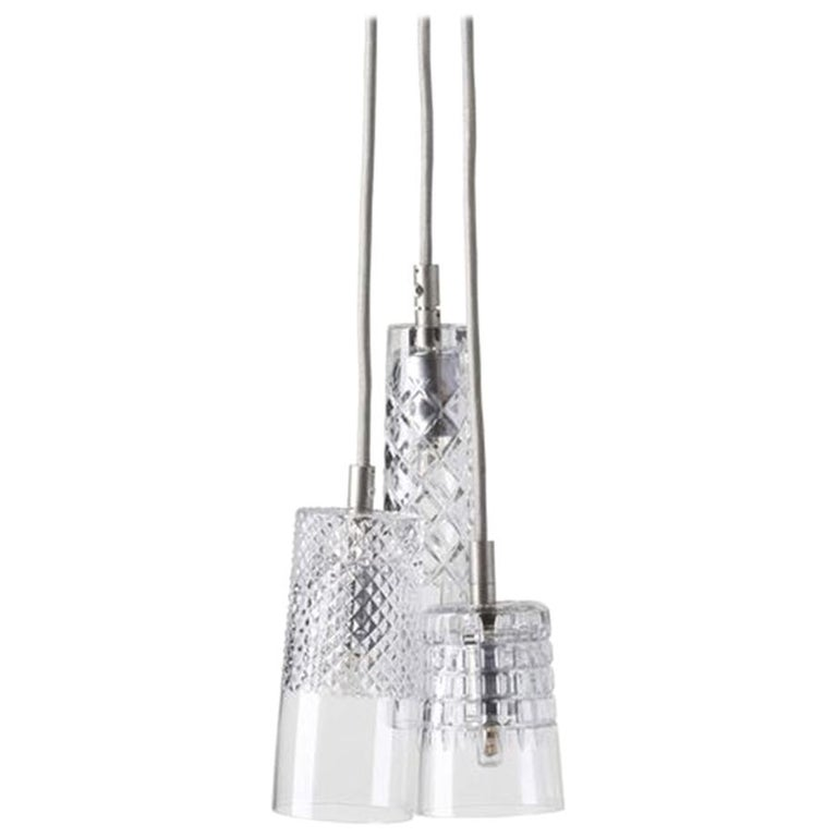 Three-Piece Set of Mouth Blown Etched Crystal Pendant Lamps, Silver For Sale