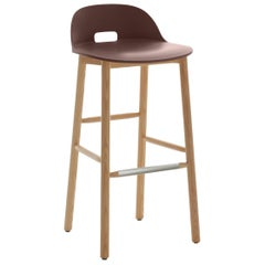 Emeco Alfi Barstool in Brown and Ash with Low Back by Jasper Morrison