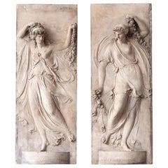 Pair of Coade Stone Figurative Panels