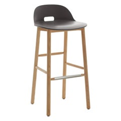 Emeco Alfi Barstool in Gray and Ash with Low Back by Jasper Morrison