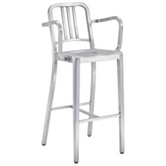 Emeco Navy Barstool with Arms in Brushed Aluminum by Us Navy