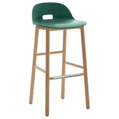 Emeco Alfi Barstool in Green and Ash with Low Back by Jasper Morrison