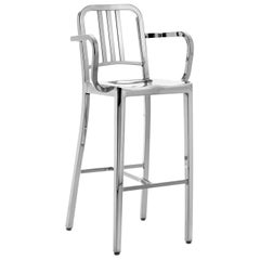 Emeco Navy Barstool with Arms in Polished Aluminum by US Navy