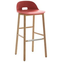 Emeco Alfi Barstool in Red and Ash with Low Back by Jasper Morrison