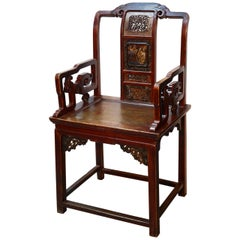 Oriental Chair, Lacquered Wood, 19th Century