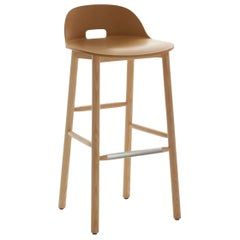 Emeco Alfi Barstool in Sand and Ash with Low Back by Jasper Morrison