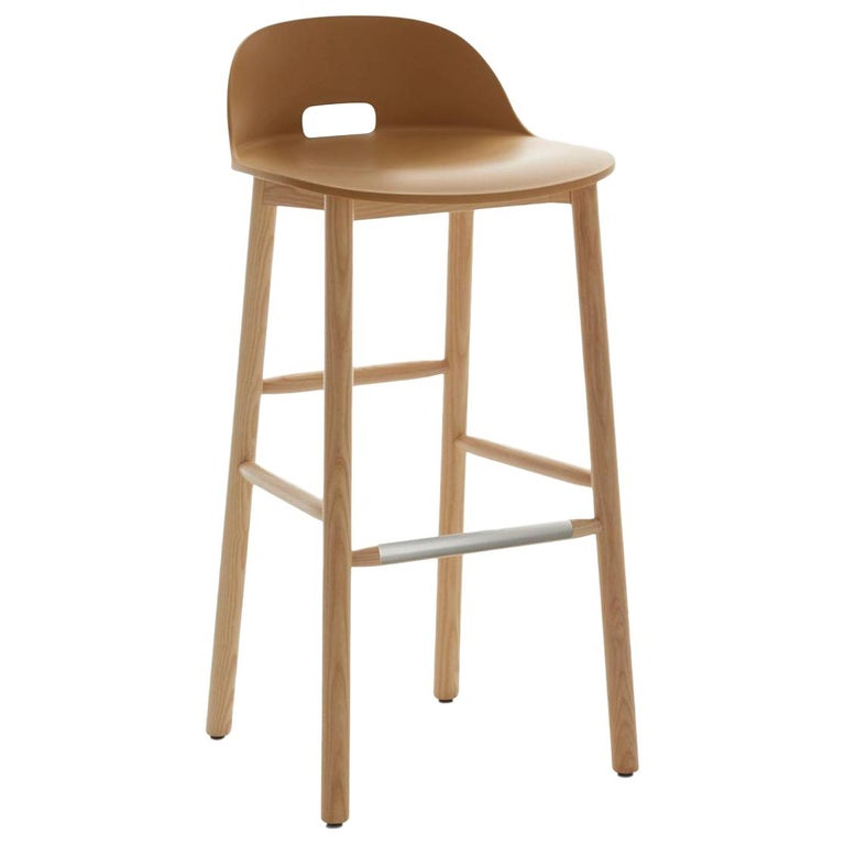 Emeco Alfi Barstool in Sand and Ash with Low Back by Jasper Morrison For Sale