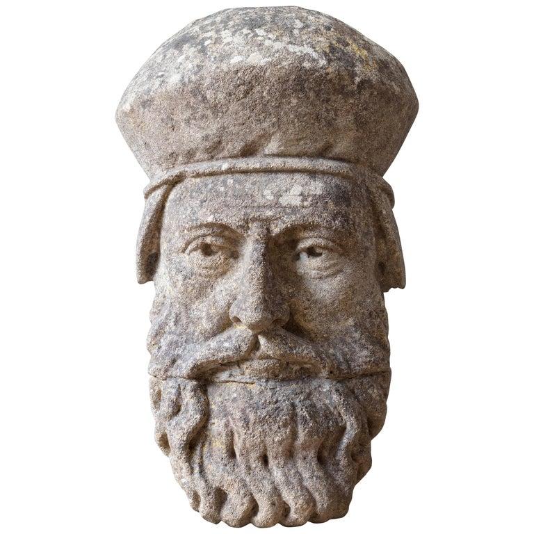 19th Century Limestone Head Sculpture For Sale