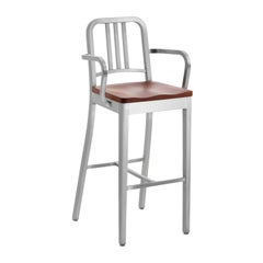 Emeco Navy Barstool with Arms in Brushed Aluminum and Walnut by US Navy