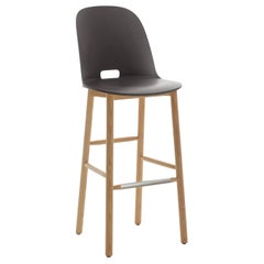 Emeco Alfi Barstool in Gray and Ash with High Back by Jasper Morrison