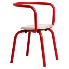 Emeco Parrish Side Chair in Red Powder-Coat and Ash by Konstantin Grcic