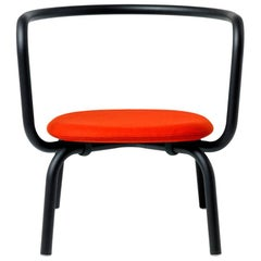 Emeco Parrish Lounge Chair with Black Powder-Coat & Red Seat by Konstantin Grcic