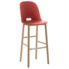 Emeco Alfi Barstool in Red and Ash with High Back by Jasper Morrison