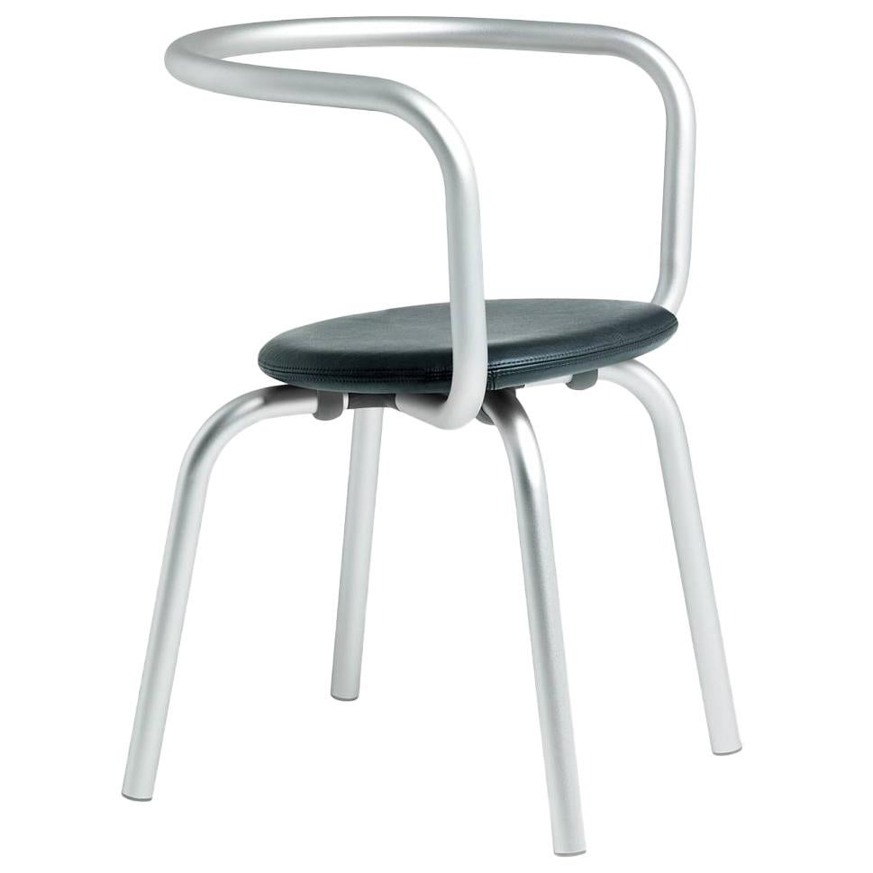 Emeco Parrish Side Chair in Aluminum and Black Leather by Konstantin Grcic