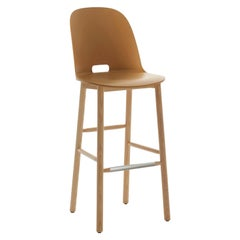 Emeco Alfi Barstool in Sand and Ash with High Back by Jasper Morrison