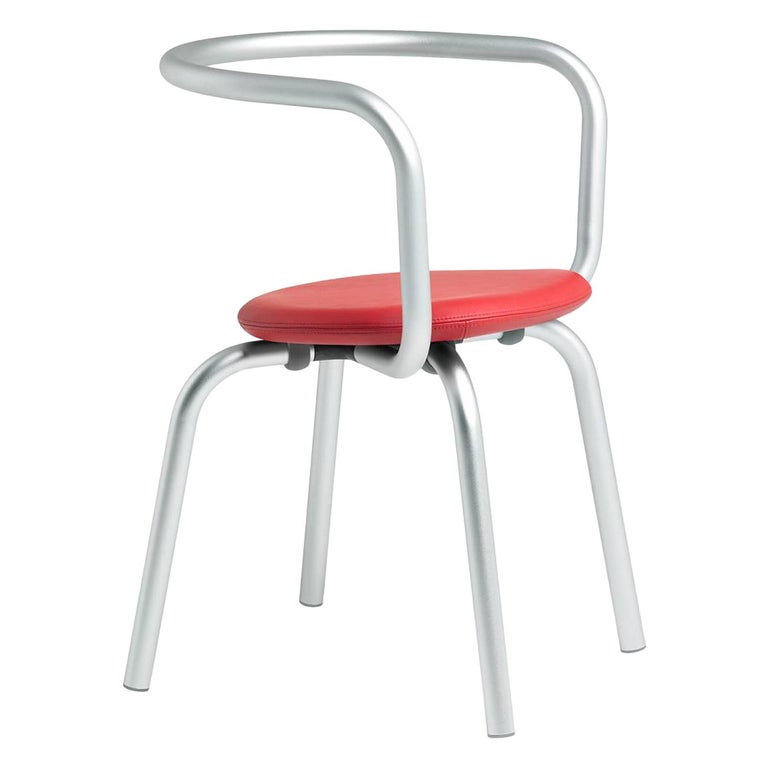 Emeco Parrish Side Chair in Aluminum & Red Leather by Konstantin Grcic For Sale