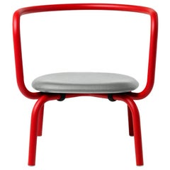 Emeco Parrish Lounge Chair in Red Powder-Coat & Gray Leather by Konstantin Grcic