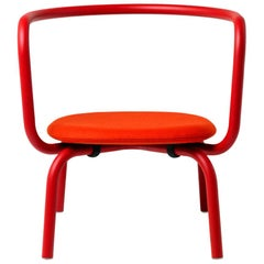 Emeco Parrish Lounge Chair in Red Powder-Coat & Red Leather by Konstantin Grcic