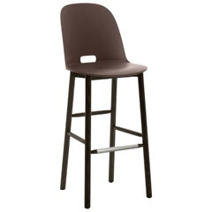 Emeco Alfi Barstool in Brown & Dark Ash w/ High Back by Jasper Morrison