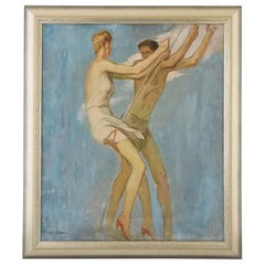 Art Deco Painting of Couple on a Swing Louis Eugene Glasser 1925 France