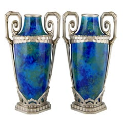 Pair of Art Deco Blue Ceramic and Bronze Vases Paul Milet for Sevres, 1920