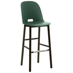 Emeco Alfi Barstool in Green and Dark Ash with High Back by Jasper Morrison