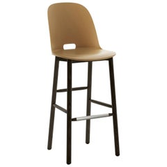 Emeco Alfi Barstool in Sand and Dark Ash with High Back by Jasper Morrison